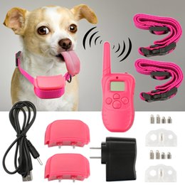 Wholesale Dog Two Collar - Rechargeable Waterproof Dog Pet Products Training Collar Shock Vibrate LCD Remote for 2 Dogs 300m 100LV for Dogs Pets