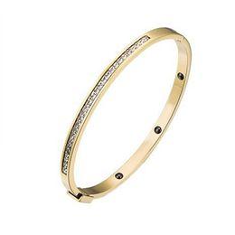 Wholesale Cheap Titanium Ring Sets - Luxury cheap jewelry wholesale titanium brand design pave diamond women bracelet bangle 10 pieces lot free drop shipping