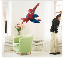 Wholesale Spider Man Wall Stickers - Spider-Man Removable Wall Stickers Home Decals Kids Room PVC Wall Stickers Nursery Wall Decor 60x90cm Wall Art Sticker