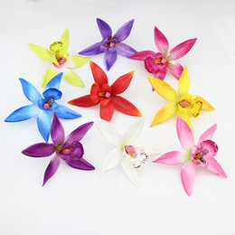 Wholesale Flower Gladiolus - High Quality 10cm Silk Orchid Artificial Flower heads ,Gladiolus for Wedding Decorative Cymbidium Flowers Plants 50pcs lot