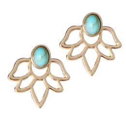 Wholesale Gold Blue Gem Earring - Luxury Korean Fashion Gold Silver Lotus Earrings Blue Gem Stone Stud Earrings For Wedding Women Double Side Ear Cuff