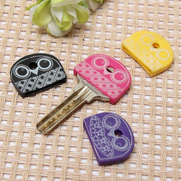Wholesale Key Cap Owl - 4pcs set Cartoon Animal Silicone Cute Owl Key Cover Key Cap Stitch Keychain Women Key Chain Key Ring Key Holder Gifts