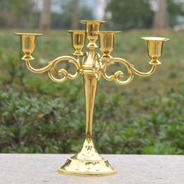 Wholesale Metal Easter Decorations - Golden metal candle holder 5-arms candle stand 27cm tall wedding event candelabra candle stick