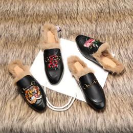 Wholesale Sexy Fur Shoes - Luxury 2017 Brand Sexy Women Winter latest design black leather furs slippers warm winter women's fur lined Slipper flats shoe loafers