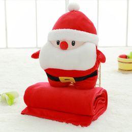 Wholesale Cartoon Blanket Cushion - Santa cushion with blanket inside Christmas home decoration Xmas plush toy gift decor
