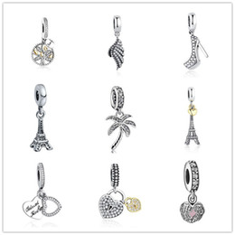 Wholesale Glass Cubes Wholesale - 925 sterling silver loose beads pandora charms life tree angle wings Eiffel Tower beads diy bracelets Europe and America fashion jewelry