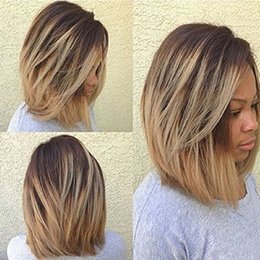 Wholesale Short Wig Cap - AISI HAIR Short straight Bob wigs layed Hair Wigs Shoulder length Blonde Full Wigs for Black Women with Free Wig Cap