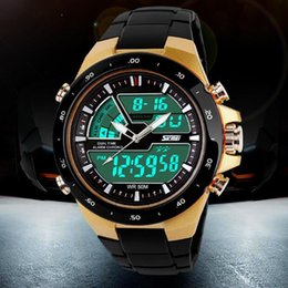 Wholesale Men S Silicone Watch - Top Brand 50M Waterproof Mens Sports Watches Relogio Masculino 2016 Hot Men Silicone Sport Watch Reloj S Shockproof Electronic Wristwatch