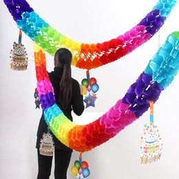 Wholesale Large White Paper Flowers - 1 Piece Large Size Birthday Party Paper Garland 3 Meters Creative Fun Colorful Hanging Flower For Kids Birthday Party Decoration