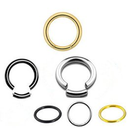 Wholesale Silver Nose Hoops - 3 color Titanium Steel open nose hoop ring Piercing Segment Ring Body Jewelry wholesale