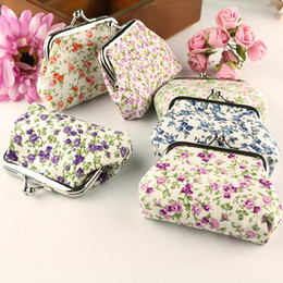 Wholesale Fabric Pillow Panels - Creative floral cute Coin purse High quality cotton key holder women wallet hasp small gifts bag handbag mini fresh admission package W617