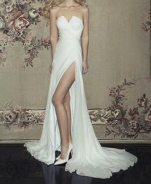 Wholesale Simple Flowing Wedding Dresses - Thigh-High Slits Wedding Dresses Strapless Sleeveless Puffy Flowing Chiffon Sweep Train Summer Beach Bride Bridal Gowns Wedding Dresses