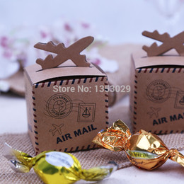 Wholesale Mail Supplies - Wholesale- 100pcs Rustic Wedding Decor Air Mail Kraft Paper Candy Box Travel Themed Wedding Decoration Mariage Vintage Chic Party Supplies