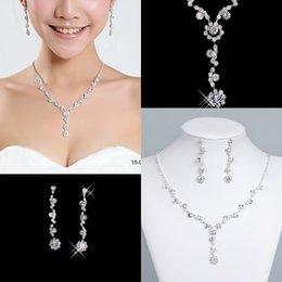 Wholesale crystal ball set - Newest Bridal Jewelry Crystal Rhinestones Bride Prom Bridesmaid Wedding Jewellery Sets Necklace Drop Earrings Bridal Accessories 15049