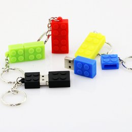 Wholesale Funny Drives - Funny Gift For Kids Children PVC Building Block USB Stick Toy Bricks USB Flash Drive Keychain Pendrive 8GB 16GB 4GB 1GB 2GB