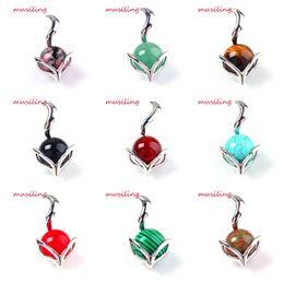 Wholesale Lapis Ball - musiling Jewelry Pendants Fox Pendant Gem Stone 16mm Ball Bead Pendulum Jewelry Lapis Lazuli Opal etc Charms Accessories Jewelry For Women
