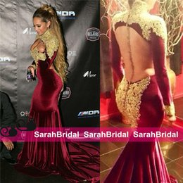 Wholesale Mermaid Prom Dresses Online - 2016 Velvet Burgundy Evening Dresses with Gold Applique High Neckline Arabic African Backless Hot Sale Party Prom Formal Gowns 2k16 Online