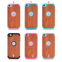 Wholesale Plastic Flower Rings - Flower Hybrid Armor Hard PC Silicone Case 3 in 1 Shockproof Wave Elephant Heavy Duty Wooden Ring For Apple Ipod Touch 5 6 Touch6 skin Luxury