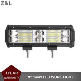 Wholesale Rectangle Driving Lights - 144W 9'' LED Work Light Bar Flood 12V 24V Car Driving Lamp SUV Truck Trailer Wagon Pickup Van Camper 4x4 LED Fog Light