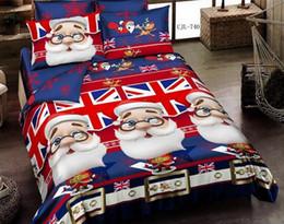 Wholesale Christmas Comforters Blue - Top Christmas gift 4 pcs cotton Santa Claus print Designers 3d bedding sets comforter duvet covers bed cheet Pillowcase bedclothes bed Linen