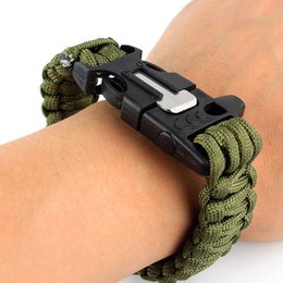 Wholesale Survival Bracelet Whistle Clasp - Wholesale-New Outdoor Camping Hiking Survival Bracelet Paracord Cord Wristbands Emergency Rope Gear Whistle Flint Fire Starter Scraper