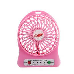 Wholesale Mini Hand Fan Battery - USB Mini Fan LED Light Portable Rechargeable Air Cooling Hand-held Operated Electric Fans 18650 Battery Adjustable 3 Speed Free Shipping