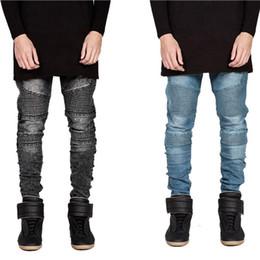 Jeans scarni di lavaggio grigio online-2016 Jeans da motociclista uomo Hi-Street moto slim fit lavato nero grigio blu moto pantaloni denim per gli uomini magri