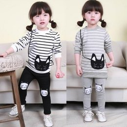 Wholesale Wholesale Cat Suits - 2016 Baby Girl Striped Clothing Sets Autumn Spring Brand Children Sport Suits long sleeve t shirt Pants Cartoon Cat Kids Twinsets