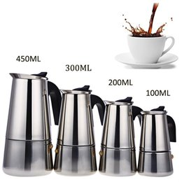 Wholesale Percolators Coffee Makers - Stainless Steel Moka Coffee Maker Mocha Espresso Latte Stovetop Filter Coffee Pot Percolator Tools Cafetiere Coffee Maker Pot +NB