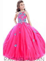 Wholesale teens cheap long dresses - 2016 Cheap Girls Pageant Dresses For Teens Lace Appliqued Beads O Neck Long Floor Length Ball Gown Size 13 Party Children Flower Girl Gowns
