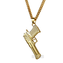 Wholesale Military Chain - MCW Military Style Gun Pendant Titanium Steel Pistol Shape Pendant Necklace Handgun Hip Hop Jewelry Two Colors