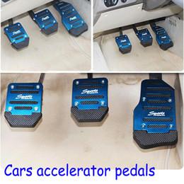 Wholesale Car Clutch Slipping - Manual Transmission Car Pedal Cover Set Universal Non Slip Aluminum PVC Brake Clutch Accelerator Anti Slip Pad Blue Red Silver