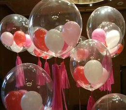 Wholesale Wholesale Dinner Party Supplies - 18inch Transparent PVC Latex Balloons Party Ballons Decoration For Wedding Dinner Christmas Eve With DHL Fast Free Shipping