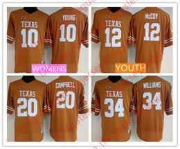 Wholesale Youth Mccoy Jersey - NCAA Texas Longhorns Womens Youth Retro #10 Vince Young 12 Colt McCoy 20 Earl Campbell 34 Ricky Williams Stitched Throwback Orange Jerseys