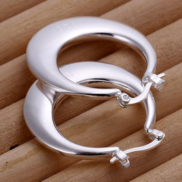 Wholesale Flat Round Onyx - 2016 New Top Quality Silver Plated & Stamped 925 wide flat solid circle round Hoop earring for women fashion jewerly wholesale