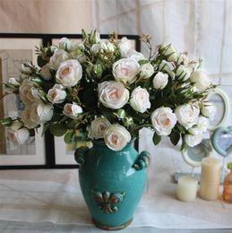 "Wholesale artificial rose bunches - Korean Silk Rose 61cm 24"" Length Artificial Flowers Roses Camellia bunch 12 Colors for Wedding Centerpieces Bridal Bouquet"