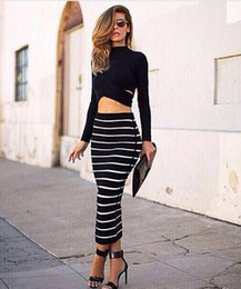 Wholesale cheap bodycon party dresses - Hot Sale 2016 High Neck Long Sleeve Black and white Striped Striped Women Evening Dress Two piece Fashion Party Dress Cheap Dress