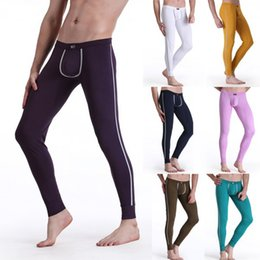 Wholesale Low Rise Long Johns - Wholesale-Men's Soft Long Johns Pants Warm Thermal Underwear Low Rise Underpants M L XL