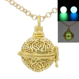 Wholesale Gold Toned Lockets - Gold Tone Hollow Rose Flower Pendant Locket Wish Box Necklace for Essential Oil Perfume Fragrance Diffuser