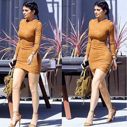 Wholesale Sexy Skin Tight Dress - 2017 Long Sleeve Slim Party Dress Sexy Club Brown Vestido Women Winter Dresses Kylie Jenner Skin Tight Faux Suede Bodycon Dress