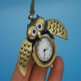 Wholesale Oval Watches For Women - Bronze Cute Open Close Wing Owl Pendant Necklace Chain Lovely Pocket Watch Gift For Women Girls GR3