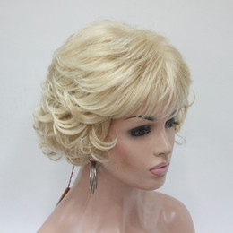 Wholesale Wig Blond Short - New Wavy Curly Light Golden Blond Mix Short Synthetic Hair Full Women' Thick Wig