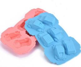 100 unids / lote, 6 agujeros forma del coche molde de chocolate diy molde de silicona decoración de la jalea molde para hornear de hielo amor regalo molde de chocolate desde fabricantes