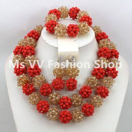 Wholesale Champagne Crystal Jewelry - 2016 Latest Luxury Red Champagne Gold African Beaded Jewelry Set Nigerian Wedding Crystal Beads Necklace Set Free Shpping