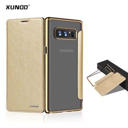 Wholesale Note Flip Back Cover - Xundd Flip Case For samsung galaxy Note 8 Transparent PC Clear Back case + PU Leather Cover For galaxy note 8 with Card Slot