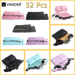 Wholesale Professional 32pcs - VANDER 32Pcs Set Professional Makeup Brush Foundation Eye Shadows Lipsticks Powder Make Up Brushes Tools + Bag pincel maquiagem F810-1
