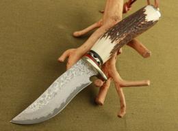 Wholesale Forging Damascus - damascus steel knife blade hunting knife Antlers horn handle handmade damascus forged steel knife gift knife
