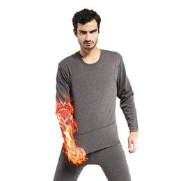 Wholesale Mens Winter Sleepwear - Wholesale-Mens Winter Warm Soft Fleece Inner Wear Thermal Long Johns Pajamas Set Sleepwear