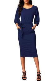 Wholesale Puff Tie - CRYG Women Puff 3 4 Long Sleeve Chiffon Pencil Dress Autumn Fashion Self-tie Belted Slim Bodycon Petite Midi Dresses