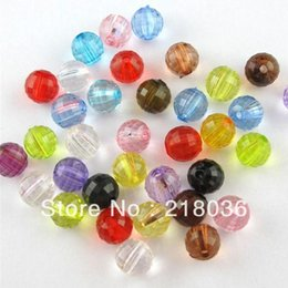 Wholesale Plastic Faceted Round Beads - Free shipping 1000Pcs Mixed Faceted Acrylic Plastic DIY Jewelry Lucite Round Ball Spacer Beads 6mm A1445
